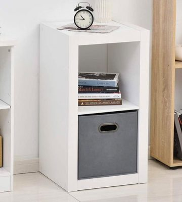 2-Tier White Shelf with Drawer